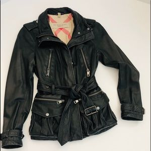 BURBERRY Leather Motto Belted Zip Jacket